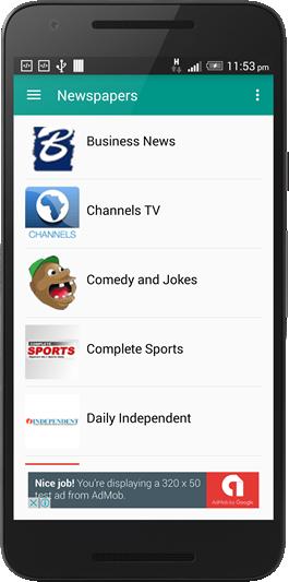 Nigerian Newspaper app screen shot